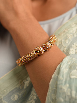 White Gold Tone Jadau Openable Bangle (Bangle Size-2/5)