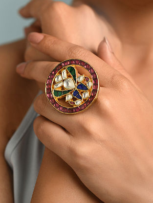 Pink Blue Gold Tone Kundan Ring