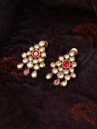 Red Gold Tone Kundan Earrings