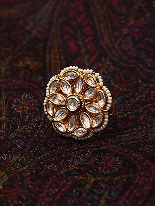 Gold Tone Pearl Beaded Kundan Ring
