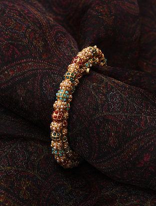 Navratan Multicolored Gold Tone Jadau Openable Bangle (Bangle Size-2/7)