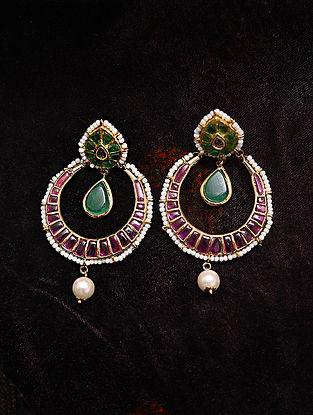 Green Pink Gold Tone Jadau Earrings With Pearls