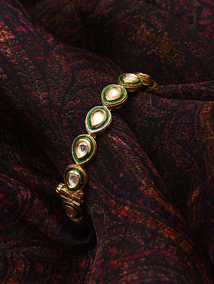 Green Meenakari Gold Tone Kundan Openable Bangle (Bangle Size-2/6)