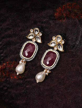Maroon Dual Tone Handcrafted Earrings With Pearls