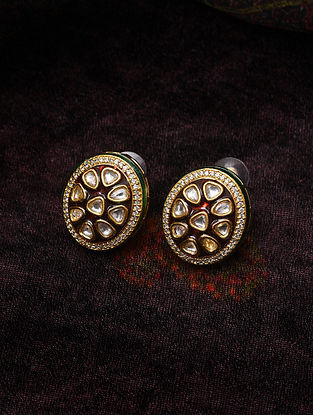 Red Meenakari Gold Tone Kundan Earrings