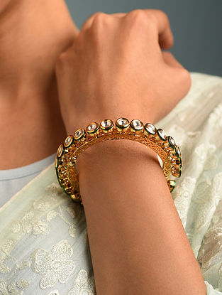 Gold Tone Kundan Pachheli Openable Bangle (Bangle Size-2/3)