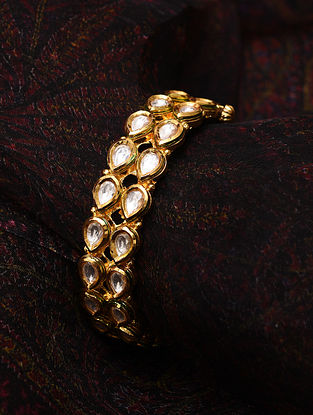 Gold Tone Kundan Openable Bangle (Bangle Size-2/4)