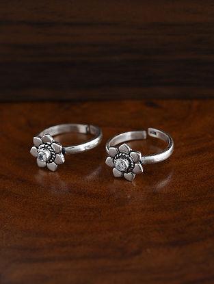 White Tribal Silver Toe Ring