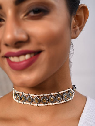 Dual Tone Tribal Silver Choker Necklace with Chidd Moti
