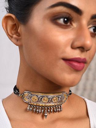 Dual Tone Tribal Silver Choker Necklace