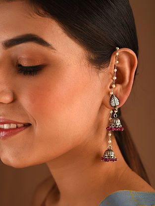 Kashmiri Silver Jhumki Earrings with Freshwater Pearls