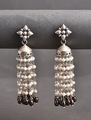 Tribal Silver Jhumki Earrings with Freshwater Pearls