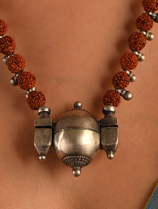 Tribal Silver Lingam Necklace with Rudraksha