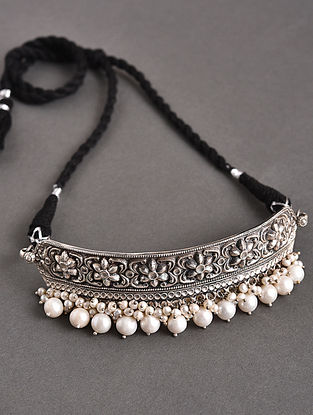 Tribal Silver Choker Necklace with Freshwater Pearls