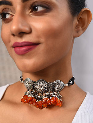 Carnelian Tribal Silver Choker Necklace with Freshwater Pearls