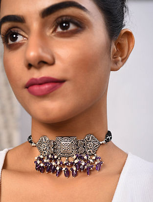 Amethyst Tribal Silver Choker Necklace with Freshwater Pearls