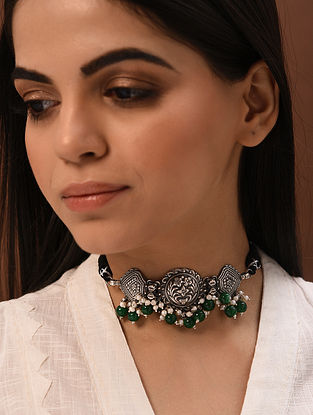 Green Stone Tribal Silver Choker Necklace with Freshwater Pearls
