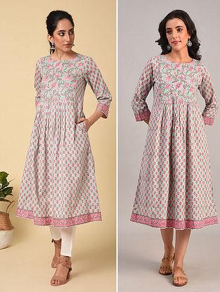 Blue-Pink Block Printed Cotton Kurta Dress with Sequin