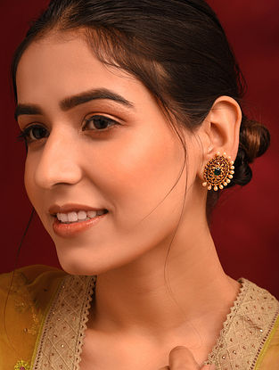 Green Pink Gold Tone Temple Earrings With Pearls