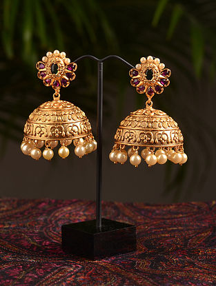 Green Pink Gold Tone Temple Jhumki Earrings With Pearls