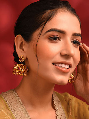 Pink Gold Tone Temple Jhumki Earrings