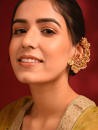 Pink Gold Tone Temple Earcuffs