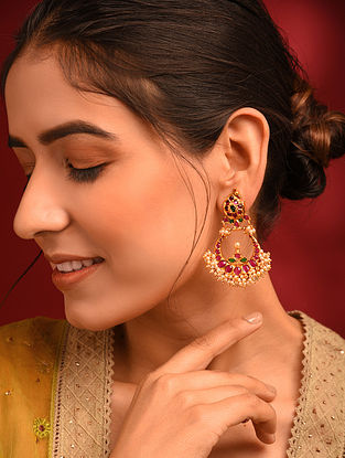 Pink Green Gold Tone Temple Chandbali Earrings With Pearls