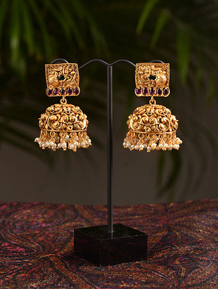 Pink Gold Tone Temple Jhumki Earrings With Pearls