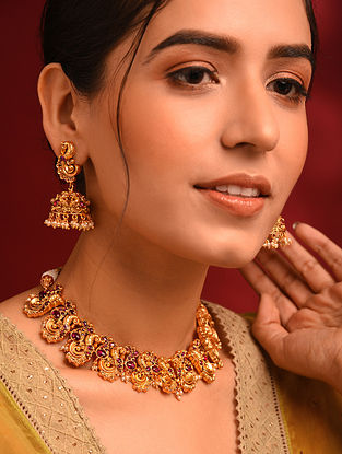 Pink Gold Tone Temple Necklace With Jhumki Earrings