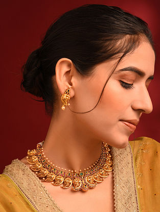 Green Pink Gold Tone Temple Necklace And Earrings With Pearls