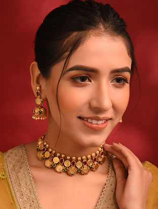 Green Maroon Gold Tone Temple Necklace And Jhumki Earrings With Pearls