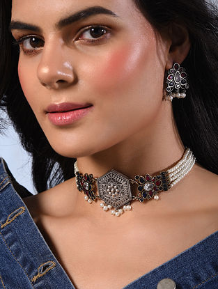 Red Blue Silver Tone Tribal Choker Necklace With Earrings