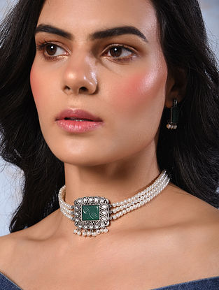 Green Silver Tone Handcrafted Necklace And Earrings With Pearls