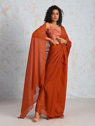 Orange Handwoven Cotton Saree