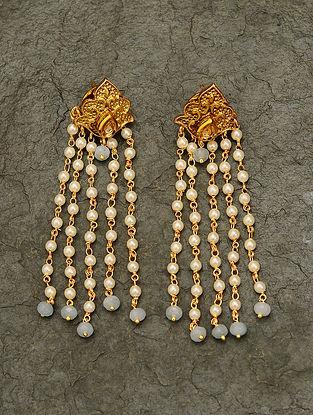 Blue Gold Tone Pearl Beaded Kundan Earrings