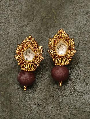 Maroon Gold Tone Kundan Earrings