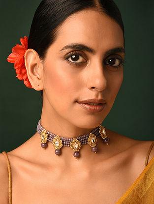 Lavender Gold Tone Kundan Beaded Choker Necklace