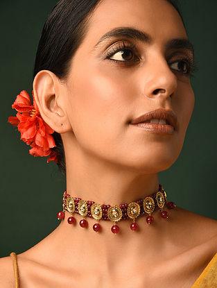 Maroon Gold Tone Kundan Beaded Choker Necklace