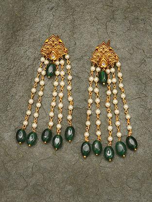 Green Pearl Beaded Kundan Earrings