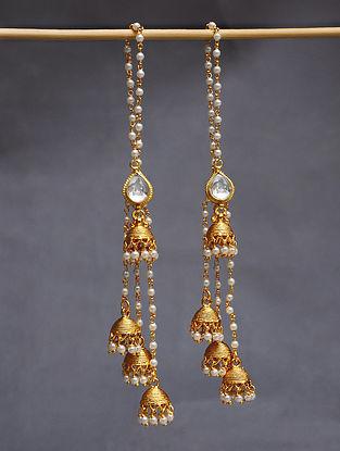 Gold Tone Pearl Beaded Kundan Jhumki Earrings With Ear Chains