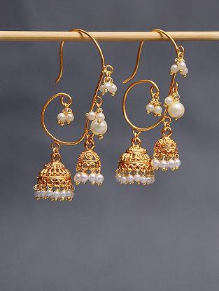 Gold Tone Pearl Beaded Handcrafted Jhumki Earrings