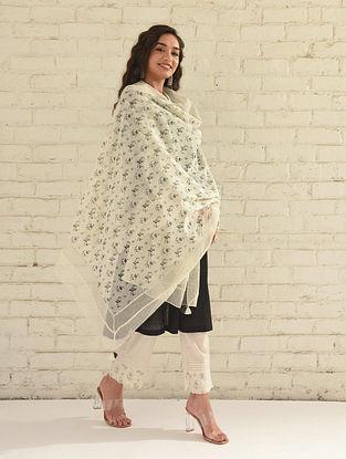 Ivory Printed Silk Cotton Dupatta