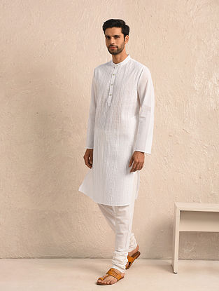 White Cotton Pintuck Long Kurta