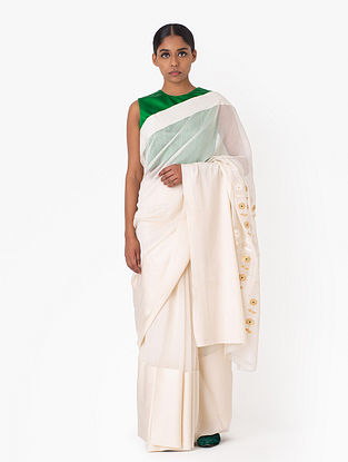 White Handwoven Cotton Silk Saree