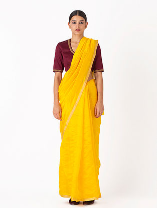 Yellow Handwoven Chanderi Silk Saree