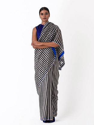 Black-White Handwoven Chanderi Silk Saree