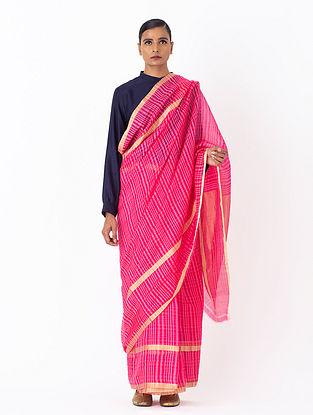 Pink Handwoven Chanderi Silk Saree