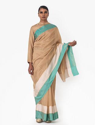Beige Handwoven Chanderi Silk Saree