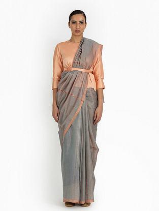 Grey Handwoven Tissue Silk Saree