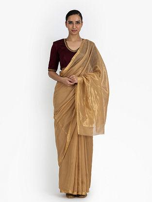 Beige Handwoven Tissue Silk Saree